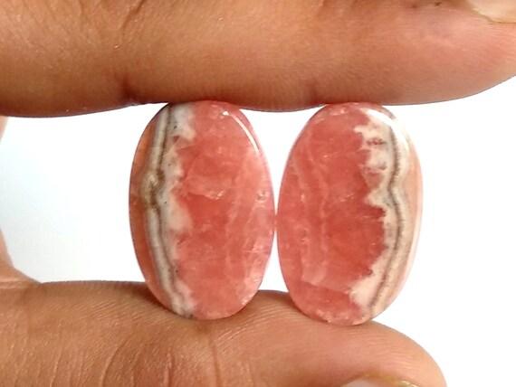 Cabochons ovales rhodochrosite, Rhodochrosite naturelle paire, Designer et lisse et Designer Cabochon, 25 x 15 MM, 43 Cts, Rhodochrosite pierres précieuses. 758cd4