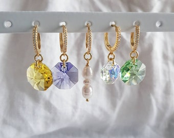 Octagon Crystal Earrings
