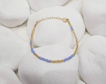 Blue Delicate Stacking Bracelet