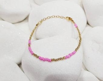 Pink Delicate Stacking Bracelet
