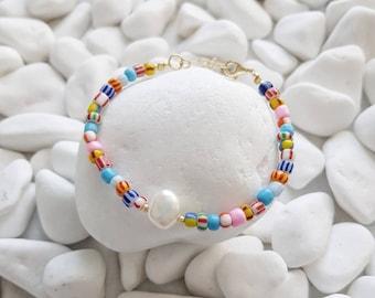 Pearl Bracelet Ethnic Bracelet MALIA Extendable bracelet in Colorful Krobo Pearls