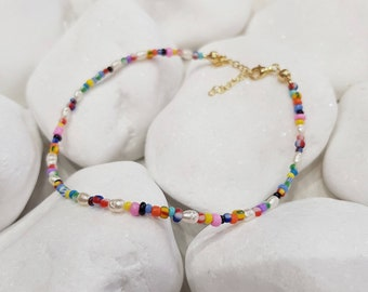 Rainbow Pearl Anklet