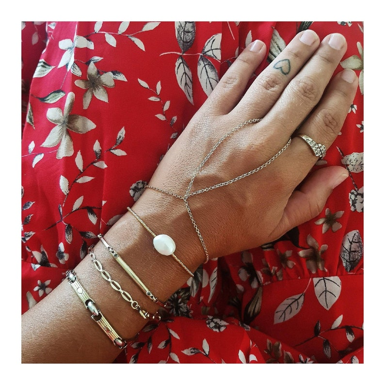 Plain Gold Chain Bracelet Chain Only Bracelet Simple Delicate Bracelet Ring Chain Ring Chain Bracelet Dainty Layering Bracelet