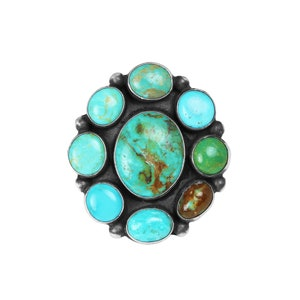 Mixed Turquoise Cluster Ring Style 2