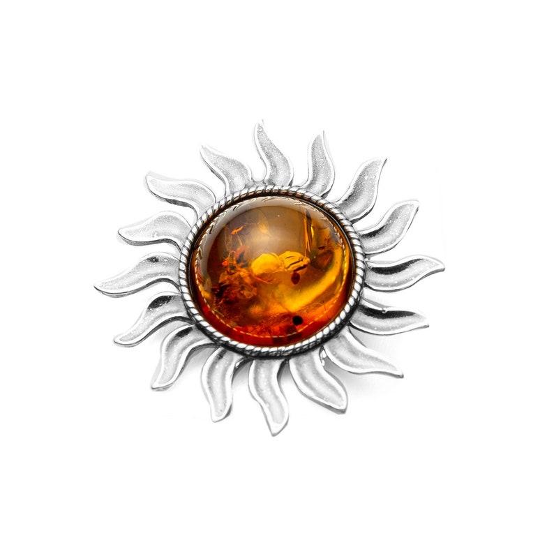 Ring Sun Amber Set 925 Silver Pendant Brooch Jewelry Set Amber Jewelry #2085