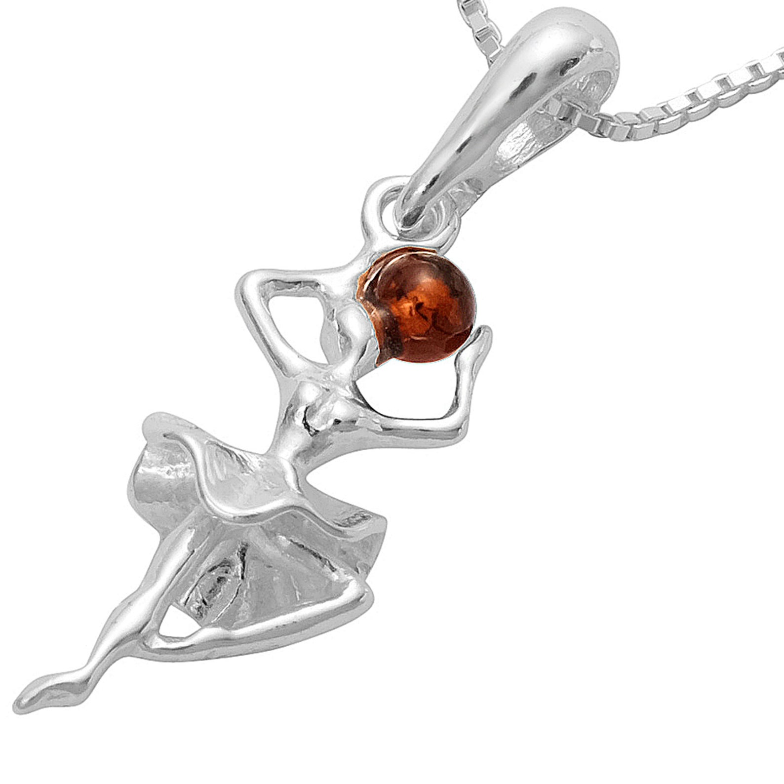 amber ballerina pendant ballet 925 silver