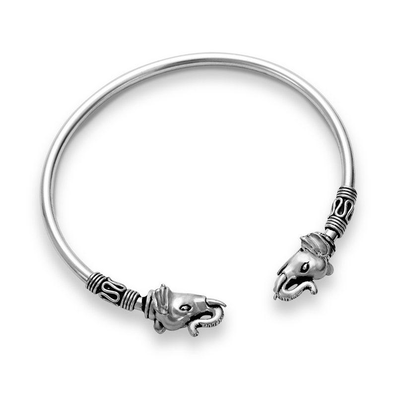Bracelets cuff 925 silver with fine ornaments and elephant bracelet