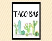 Taco Bar, Taco Bar sign, Fiesta Bridal Shower, fiesta baby shower, Cactus Taco Bar, Succulent Taco Bar, Fun Shower Signs, Printable Taco Bar