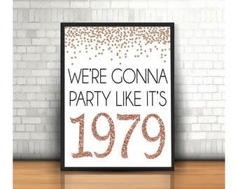 40th Birthday Cheers To 40 Years Happy Sign Anniversary Rose Gold Party Decoration1979