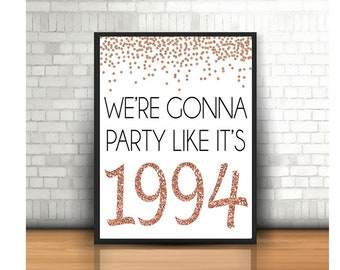 25th Birthday Cheers To 25 Years Happy Sign Anniversary Rose Gold Party Decoration1994