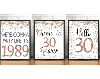 30th Birthday Signs Bundle Cheers To 30 Years Hello Happy Rose Gold Anniversary Pack