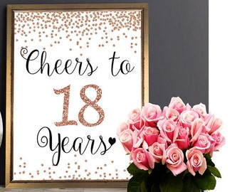 Cheers To 18 Years 4x6 5x7 8x10 11x14 18th Birthday Sign Anniversary Rose Gold Party Decoration Decor