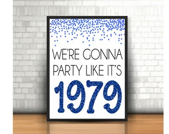 40th Birthday Cheers To 40 Years Happy Sign Anniversary Blue Glitter Decoration1979