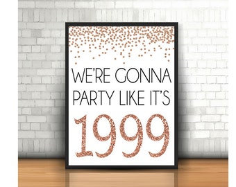 20th Birthday Cheers To 20 Years Happy Sign Anniversary Rose Gold Party Decoration 1999