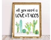Taco Bar, All You Need Is Love And Tacos, Taco Bar sign, Fiesta Bridal Shower, fiesta baby shower, Cactus Taco Bar, Succulent Taco Bar, file