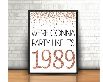 30th Birthday Cheers To 30 Years Happy Sign Anniversary Rose Gold Party Decoration1989