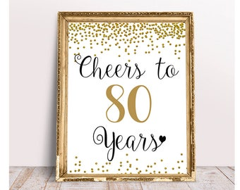 Cheers To 80 Years 4x6 5x7 8x10 11x14 80th Birthday Sign Anniversary Gold Confetti Party Decoration Decor
