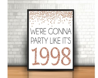 21st Birthday Cheers To 21 Years Happy Sign Anniversary Rose Gold Party Decoration1998