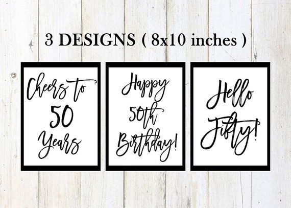 photograph regarding Printable 50th Birthday Signs identify 50th birthday indications, satisfied 50th birthday, cheers in direction of 50 several years, 50th birthday bash decor, black and white, printable birthday signs and symptoms, package deal