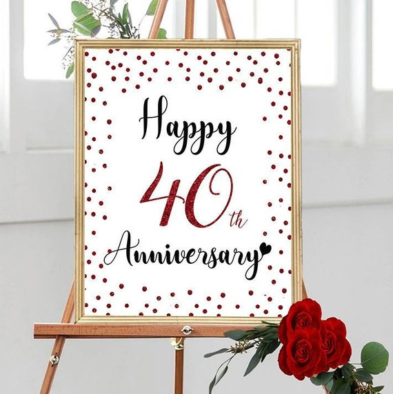 Happy 10th Anniversary, Cheers to 10 Years, 10th Wedding Anniversary, Ruby  Anniversary Party Decoration, Anniversary décor, Red Anniversary
