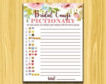 Bridal Emoji Pictionary, Pink Floral Bridal Emoji Pictionary, Bridal Shower Game, Blush Floral Bridal Shower Game, Instant Download Bridal