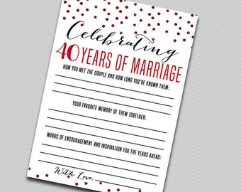 Printable anniversary party sheets - Ruby Red Glitter - 40th anniversary -Ruby Red Anniversary - 40th wedding anniversary game - printable