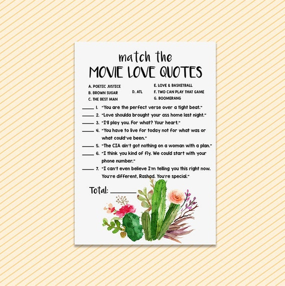 bridal shower games movie love quotes printable fiesta