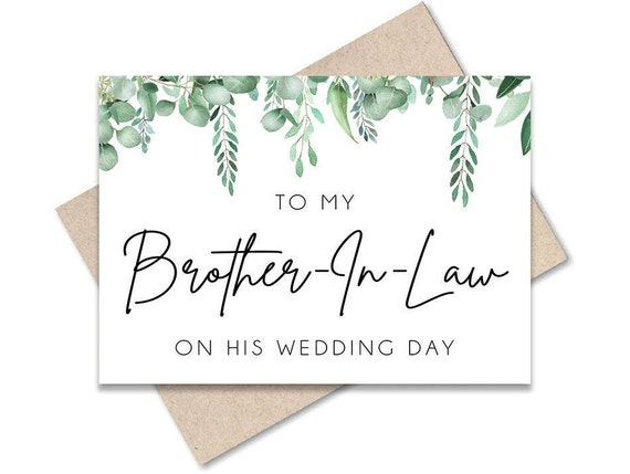 Wedding Day Card. To My Brother-In-Law On My Wedding Day