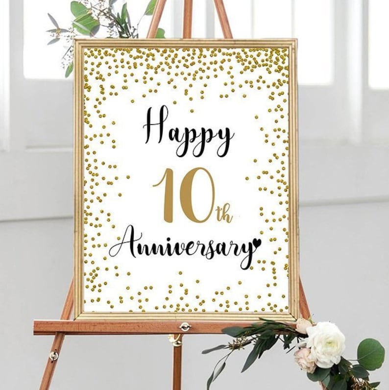 10th Wedding Anniversary Party Ideas: Happy 10th Anniversary Cheers To 10 Years 10th Wedding
