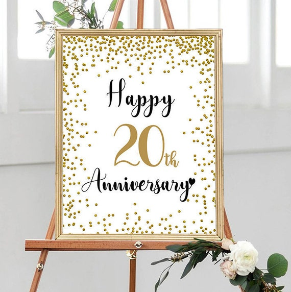 Happy 20th Anniversary Cheers To 20 Years 20th Wedding Etsy