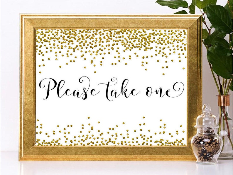 Wedding  Signs Gold Favors Sign Printable favors Gold Shower Sign,Gold Confetti Shower Signs Elegant Shower Sign Please take one sign