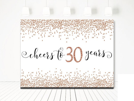 Backdrop Decoration Cheers to 30 Years Birthday Banner Black and Gold
