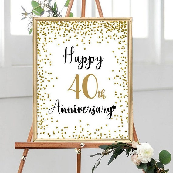 Happy 40th Anniversary Cheers To 40 Years 40th Wedding Etsy