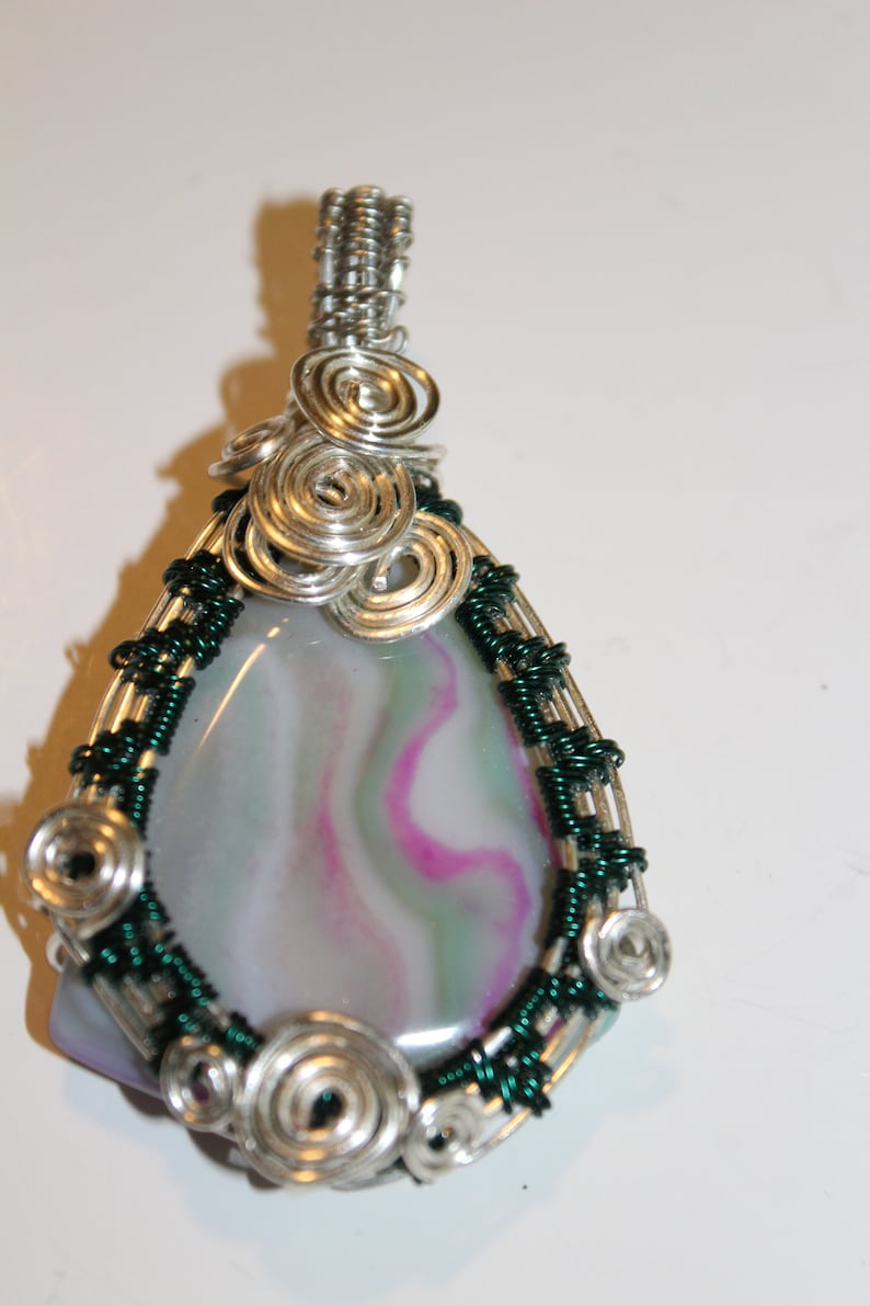 Silver Wire Wrapped Agate Pendant Natural Stone Jewelry Etsy