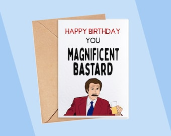 Happy Birthday You Magnificent Bastard Funny Rude Joke Greeting Birthday Card