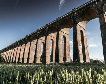 Ouse Valley Viaduct Landscape Print, Bold Modern Vibrant Wall Art, Colour/Black And White