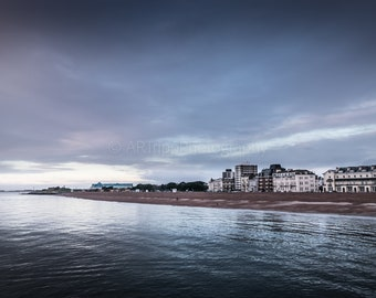Southsea Beach Photography Print, Dramatic Landscape Wall Art, Coastal Print, Colour/Black And White