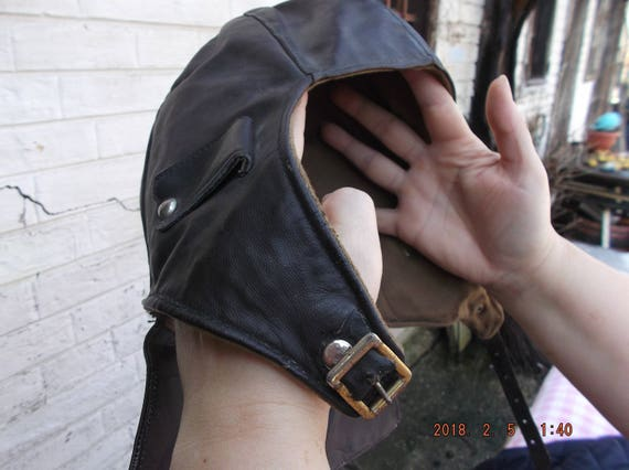 Helmet,Leather Motorcycle helmet, Vintage brown l… - image 7