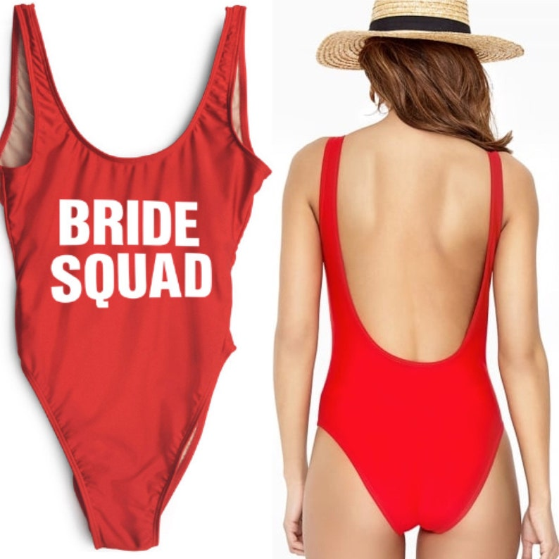 b2df624992 Ladies BRIDE SQUAD Swimsuit Red Swimming Bathing Costume Hen Party  Bachelorette Wedding Size S-L 10% sales donated to Breast Cancer Charity