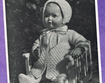 Original Vintage Bairns-Wear Dolls Clothes Knitting Pattern 1310: Woolly Outfit for 16 inch Doll