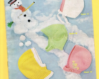 Original Vintage Sirdar Sunshine Series Baby  Knitting Pattern 212 - Helmets and Bonnets to fit Babies 6 Months to 2 Years