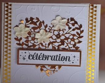 Flowers and heart wedding congratulations card