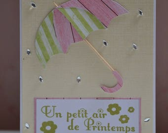 """Umbrella card any occasion birthday, mother, """"a little bit of spring"""""""