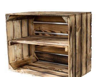 New, Massive Fruit Boxes Wine Boxes Wood Boxes Flamed with Intermediate Floor Longitudinal Vintage Shabby Chic
