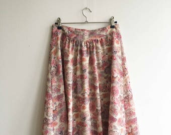 Vintage Pink flowered midi skirt size M