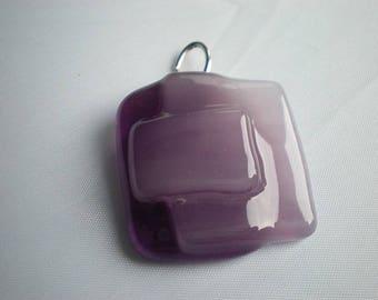Glass purple and pink charm pendant padlock