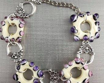 Beige and Pink-Purple glass bracelet. Lampwork Glass Beads