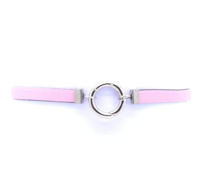 Pink leather choker necklace and stainless steel rhinestone musket ring Leather neck ras from vegetable tanning
