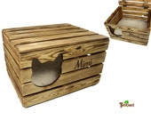 RUSTIC KATZENHÖHLE PERSONALISED with name vintage chest wooden fruit box cat basket with lid cat animal bed reclining pillow gift