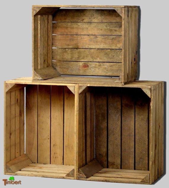 Vintage Obstkisten Old Apple Boxes Rustic Holzkisten Nature Etsy